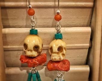 Dangle Earrings of skulls, coral & turquoise
