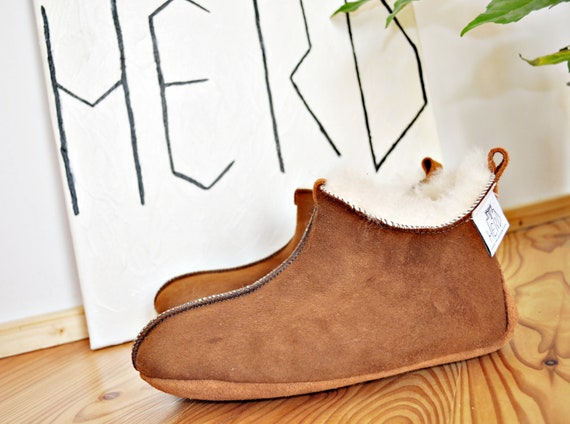 Brown Leather Slippers. Genuine Leather Slippers. Sheepskin Slippers. Women's Shoes. Women's Sheepskin Slippers. Natural Leather Slippers.