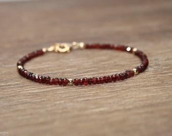 Garnet Bracelet, Garnet Jewelry, January Birthstone, Gold Filled or Sterling Silver Beads