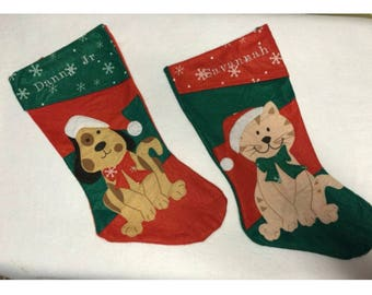 Cat Personalized embroidered stocking