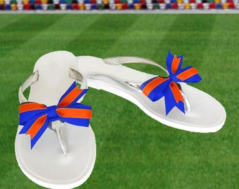 Orange + Blue Bow Jelly Sandals