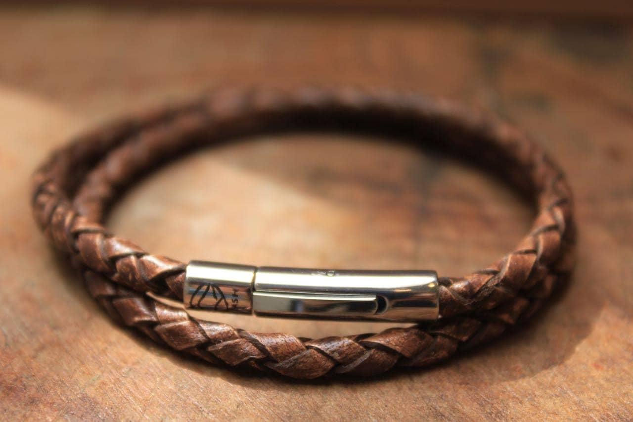 Fine Jewelry Mens Stainless Steel Brown Leather Wrap Bracelet ZRB3F