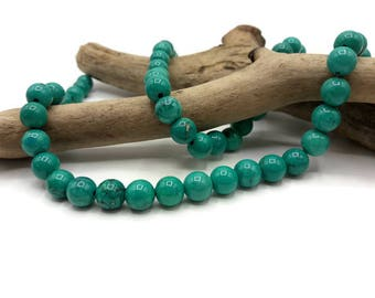 25 beads Turquoise natural 8 mm - turquoise - gem stone - A180