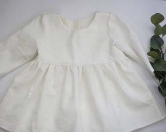 White Linen Blouse, Off White Top, Toddler Shirt, Girls Linen Tunic, Baby Girl Top, Linen Baby Clothes, Linen Girls Clothes