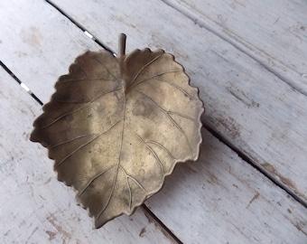Vintage Brass Maple Leaf