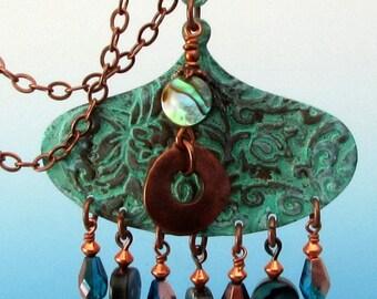 Abalone & Green Patina Copper Pendant