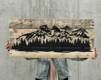 Ready To Ship // Three Sisters Canmore Mountain Scene Rustic on Reclaimed Pallet Wood