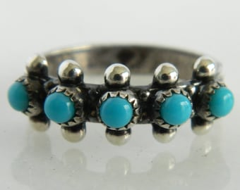 Vintage Sterling Silver Native American Turquoise Ring size 6