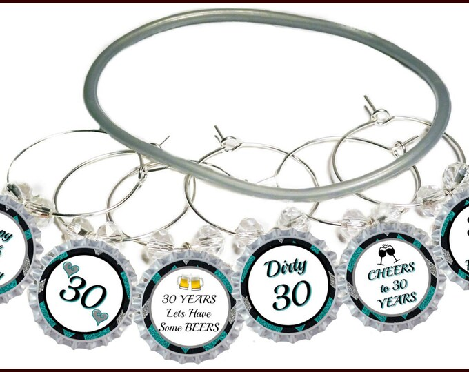 30th Birthday Bottle Cap Wine Charms - Pack of 10