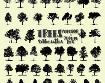 Tree Silhouette Clip Art, Tree Clip Art, Tree Clipart PNG & Vector EPS, AI Design Elements Digital Instant Download