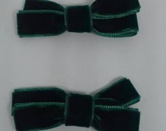 Pincitas Verdes Terciopelo. Green Velvet Clips
