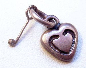 "GOLF Charm Signed 925 Sterling Silver Heart & Golf Club 3/4"" Vintage Fathers Day"