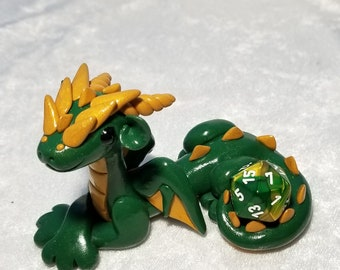 Green and Gold Miniature Dragon D20 Holding Sculpture