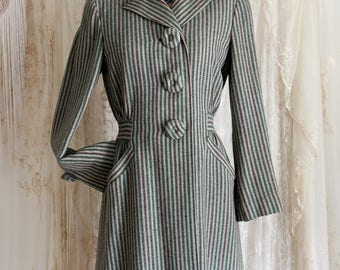 RARE 1940s Dress  A.J. Izod by David Crystal Label / Stripe / Winter Coat /Covered Buttons  /40s Coat Dress  / Size S/Medium
