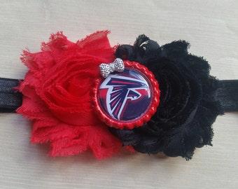 Atlanta Falcons headband!  Newborn baby infant toddler girl teen adult. Shabby chic.