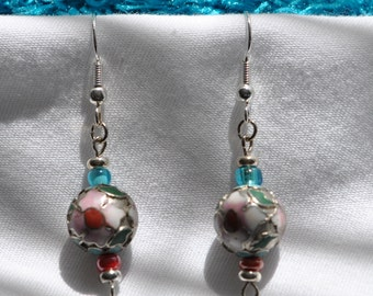 Cloisonne   Sterling Silver Earrings  Pink & Teal     Glass Beads