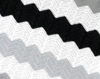 Large Stripe Color Block Crochet Chevron Blanket Pattern