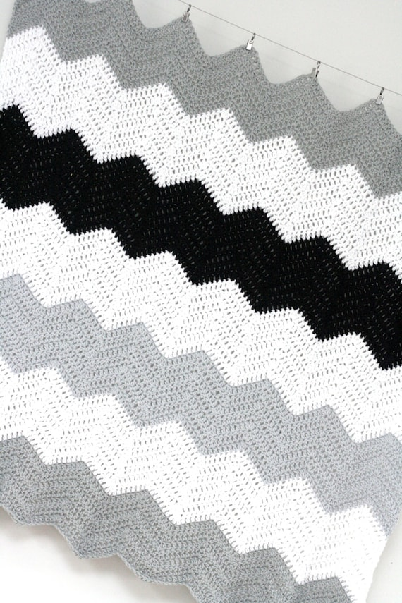 Large Stripe Color Block Crochet Chevron Blanket Pattern