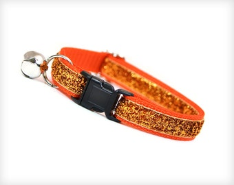 "Cat Collar - ""Uptown Funk"" - Orange Sparkle"