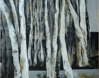 Landscape Original Oil painting Trees Black and white artwork Oil on canvas