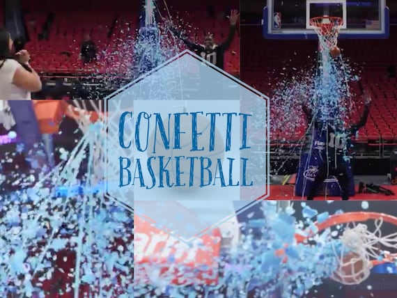 CONFETTI BASKETBALL Gender Reveal Ball! Filled with Pink or Blue Confetti and Streamers! Gender Reveal Basketball for Indoor or Outdoors