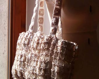 Candida fiber art tote bag, beige and white, unique design