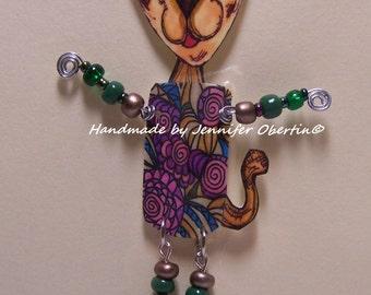 Whimsical Cat Ornament - Handmade Original Drawing Shrink Art Polyshrink Doll with Beads