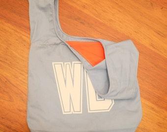 Light blue netball bib bag reversible - unique netball team gift, gift for mum, bridesmaid - sport bag, bookbag, shopping bag – custom
