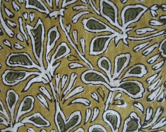 Tropical Garden - Hand Block Printed Fabric - One Yard