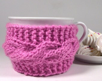 KNITTING PATTERN Cozy cup - Lazy Morning -  Tea Cup Pattern Knit Mug Cozy Sleeve Pattern Pdf File Instant Download knitted cozy cup