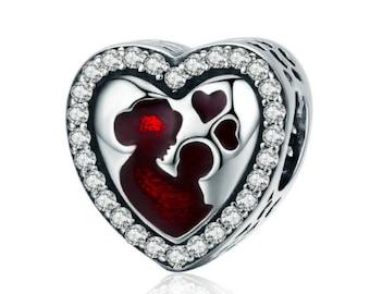 Mother's Love Heart Engrave Charm Fit Pandora bracelet