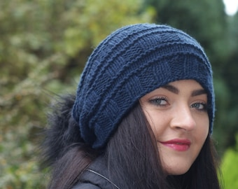 Women's Cashmere hat, Navy, Long  Hat, Blue, Slouchy, Cashmere, bobble Hat,  Beanie, Navy Blue, Gift for her, Winter hat, Christmas Gift,