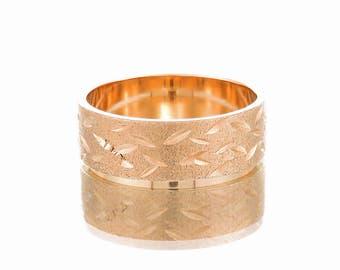Wedding ring, Rose gold wedding band, Wide wedding band, Boho wedding band, Solid gold band, Unique wedding band, Engraved wedding band