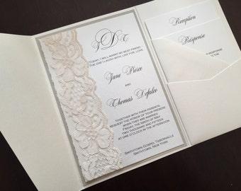 Lace Pocketfold Wedding Invitation, Lace Wedding Invite, Lace Wedding Invitation, JANE