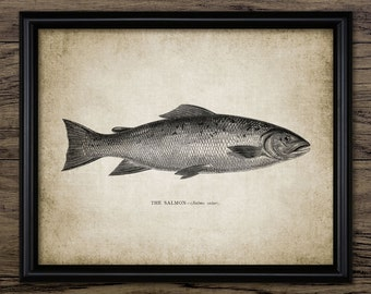 Salmon Fish Print - Salmon Fishing Art - Fly Fishing - Angling Art - Digital Art - Printable Art - Single Print #214 - INSTANT DOWNLOAD