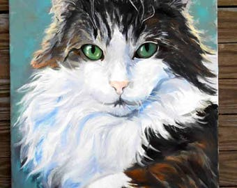 Large Custom Cat Portrait Oil Painting Portrait, Artist Robin Zebley, Unique Pet Lovers Gift Gift Certificate