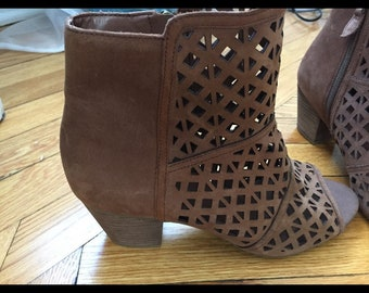 Size 8 Franco Sarto Brown Booties/ peep toe sandals