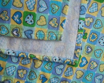Large Flannel Receiving Blanket - Checkerboard Hearts