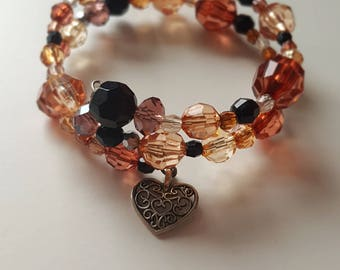 Black and Brown Beaded Heart Charm Memory Wire Bracelet
