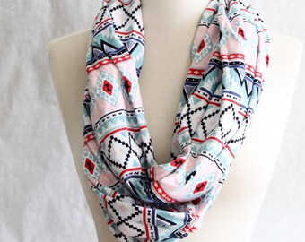 Pink and Blue Aztec - Infinity Scarf - Jersey Scarf