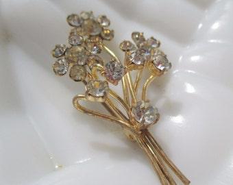 Austria Rhinestone Bouquet Pin Classic Art Deco Brooch Signed