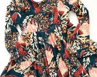 Butterfly boho toddler baby girl stretchy twirl dress