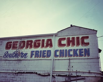 Southern Kitchen Decor, Fried Chicken Sign, Georgia Art Photography