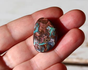 Boulder Opal freeform cabochon 30.15ct Natural blue green Australian boulder opal drilled loose gemstone