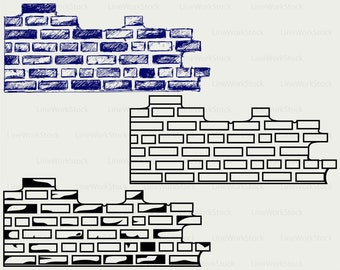 Brick Wall Svg/brick Wall Clipart/brick Wall Svg/wall Silhouette/wall