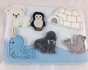 Felt Board, Arctic Animals, North Pole, Quiet board, Imagination Play