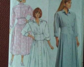 Vintage 1980's BUTTERICK Dress Pattern 4686 Kathryn Conover Broad Shoulder Loose Bodice Flared Skirt Size 6 8 10 Uncut