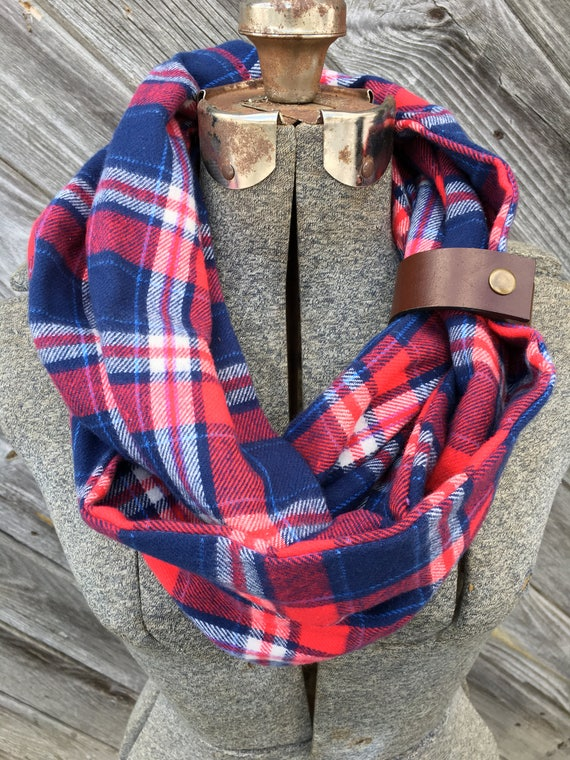 Red, blue and white plaid flannel eternity scarf with a brown leather cuff - soft, trendy