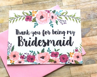Bridesmaid Thank You Card - Floral Thank You For Being My Bridesmaid Card - Wedding Thank You Cards-  Wedding Card - Bridesmaid - MULBERRY