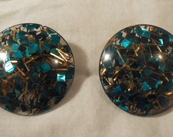 Vintage Lucite Confetti Clip-on Earrings